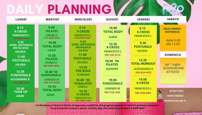 Planning fitness dal 9 al 16 luglio
